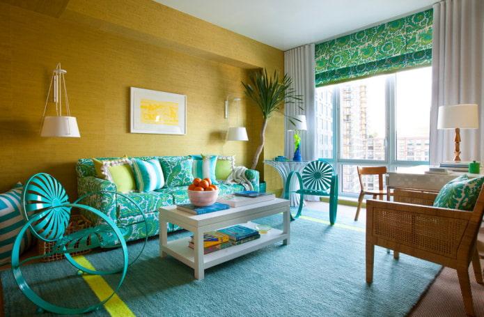 papier peint en bambou dans le salon