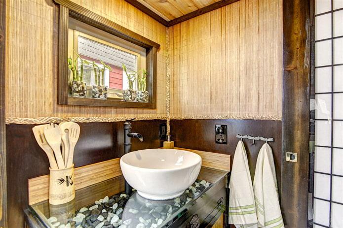 garniture de salle de bain en bambou