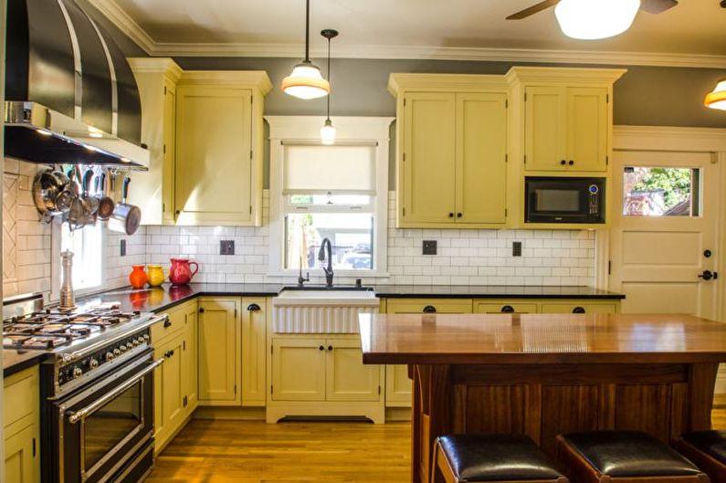 Cuisine de style campagnard jaune - Design d'intérieur
