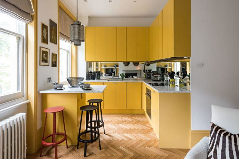 Cuisine scandinave jaune - Design d'intérieur
