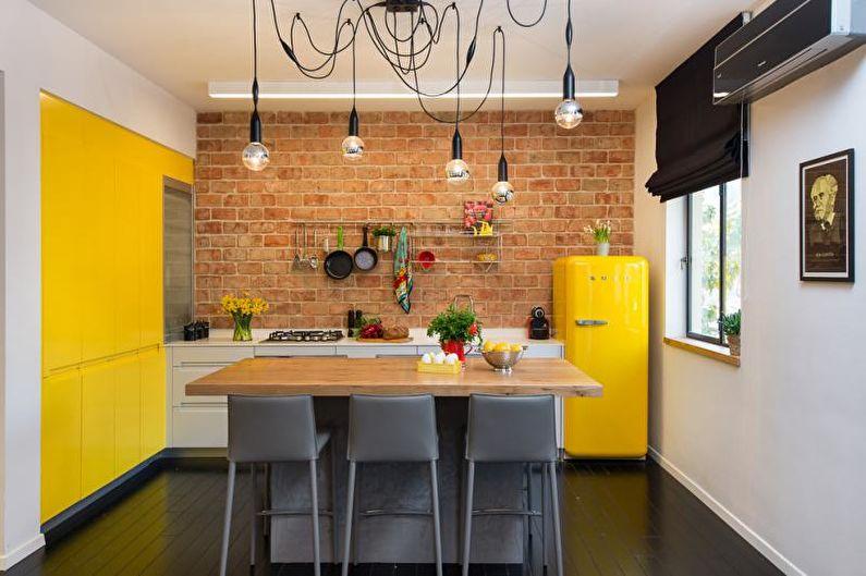 Cuisine style loft jaune - Design d'intérieur