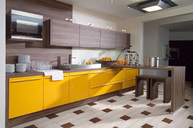 Conception de cuisine jaune - Finition de sol