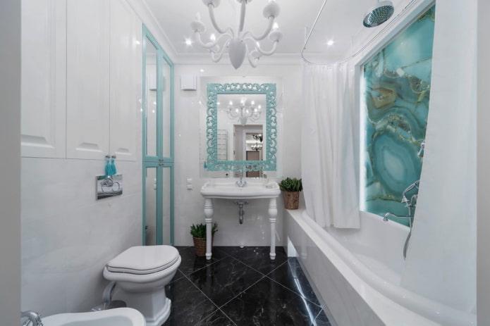 intérieur de salle de bain aux couleurs blanc et turquoise