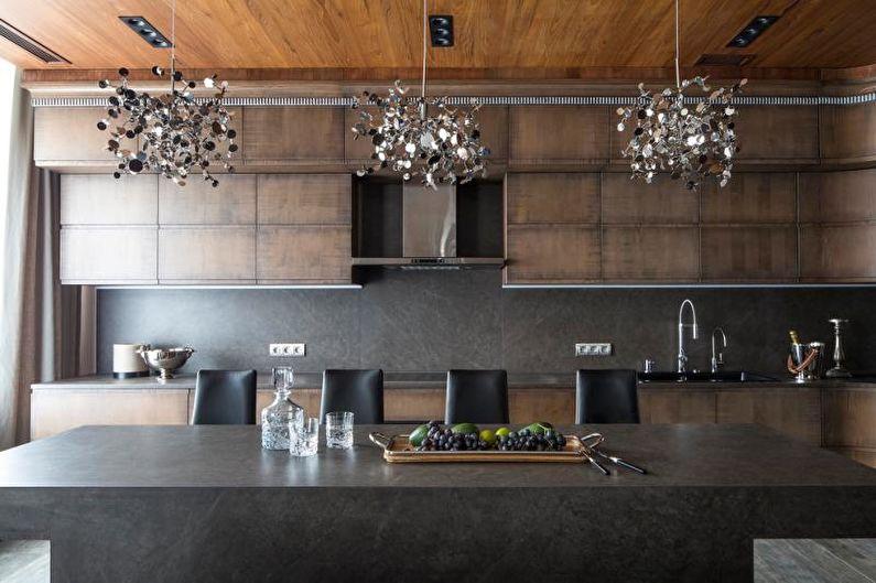Belles photos de cuisine - Cuisine-salon avec une texture en bois