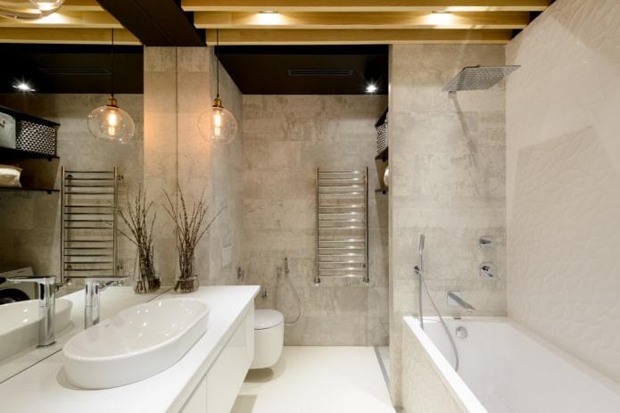 finition de la salle de bain combinée