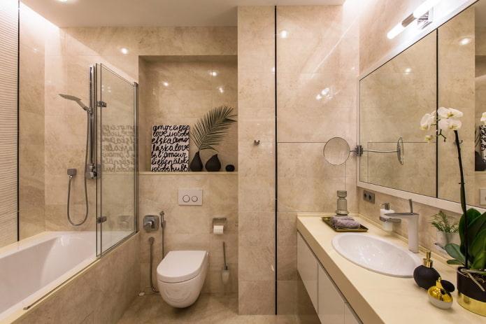 design couleur de la salle de bain combinée