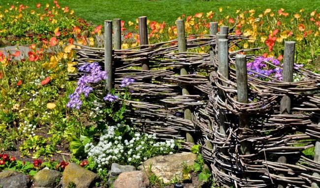 Clôture pour les parterres de fleurs de vos propres mains.  Une clôture faite de fines branches ou une clôture d'acacia d'une vigne est tout à fait dans le pouvoir de faire vous-même