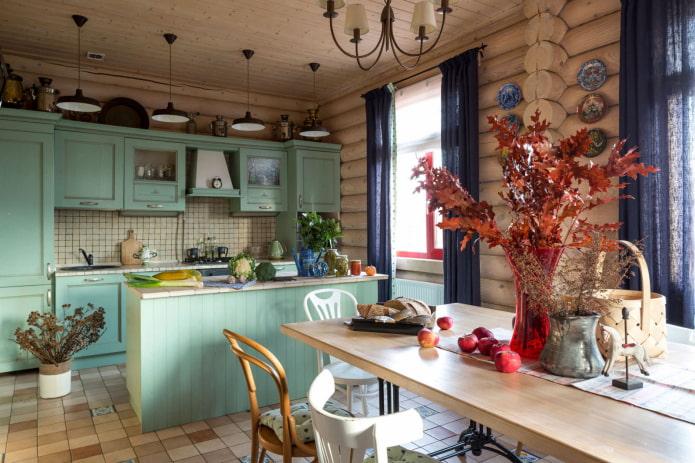 déco de cuisine dans une maison en bois