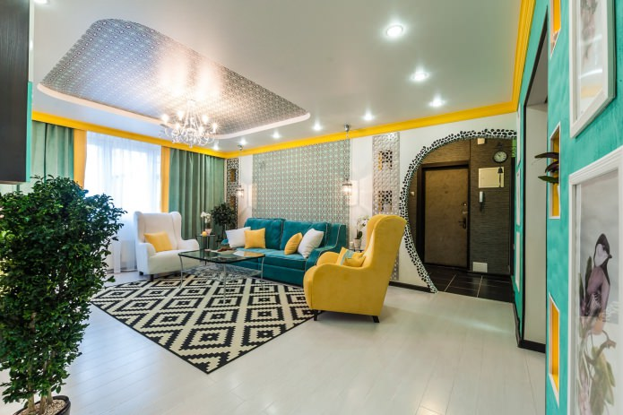 chambre-salon lumineuse avec stratifié blanc