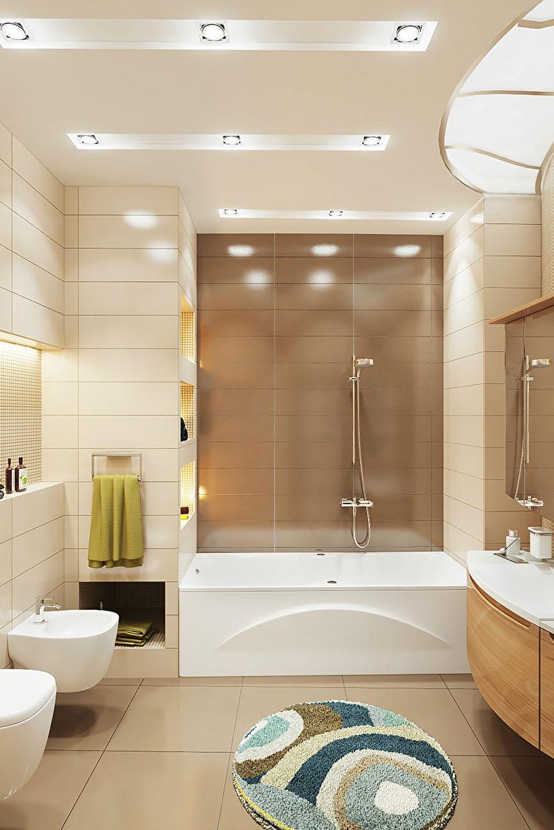 Conception de salle de bain étroite - Finition de plafond