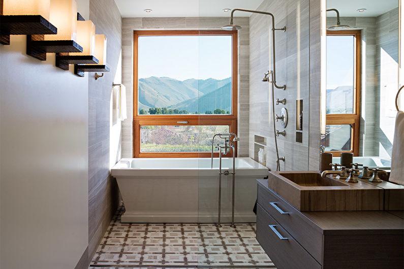 Conception de salle de bain étroite - Finition de sol