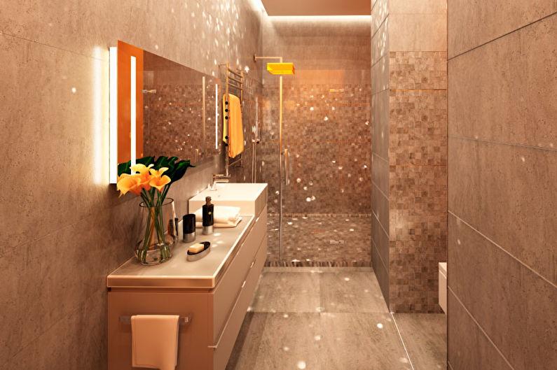 Conception de salle de bain étroite - Décorations murales