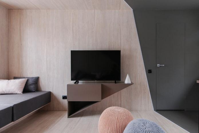 meuble TV triangulaire à l'intérieur