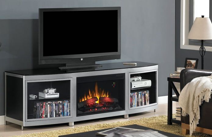 Meuble TV avec foyer électrique à l'intérieur