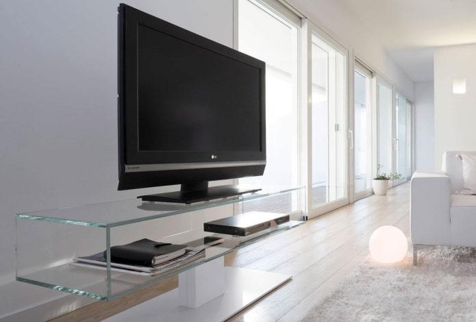 meuble TV en verre à l'intérieur