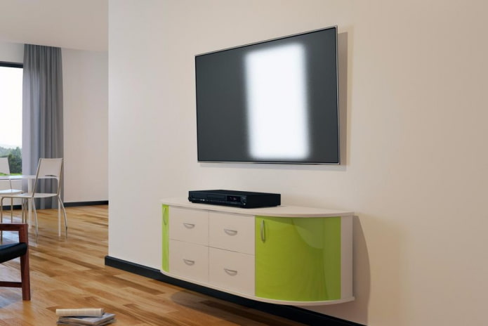 meuble TV semi-circulaire à l'intérieur