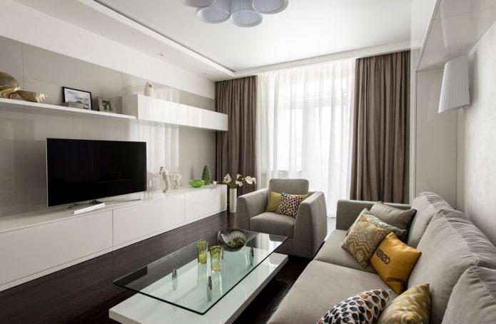 long meuble TV à l'intérieur