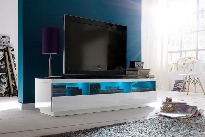 Meuble TV avec éclairage à l'intérieur