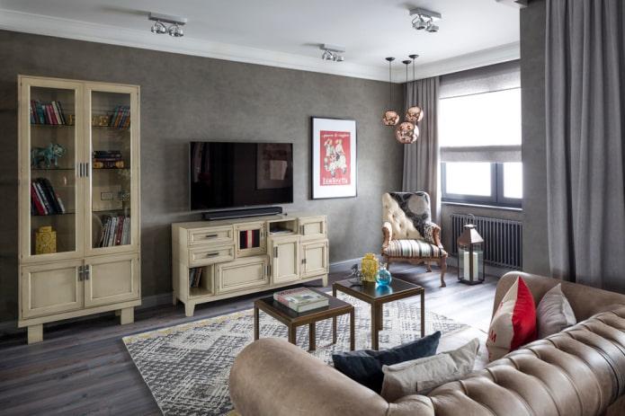 meuble TV beige à l'intérieur
