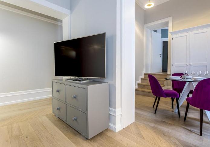 meuble tv gris à l'intérieur