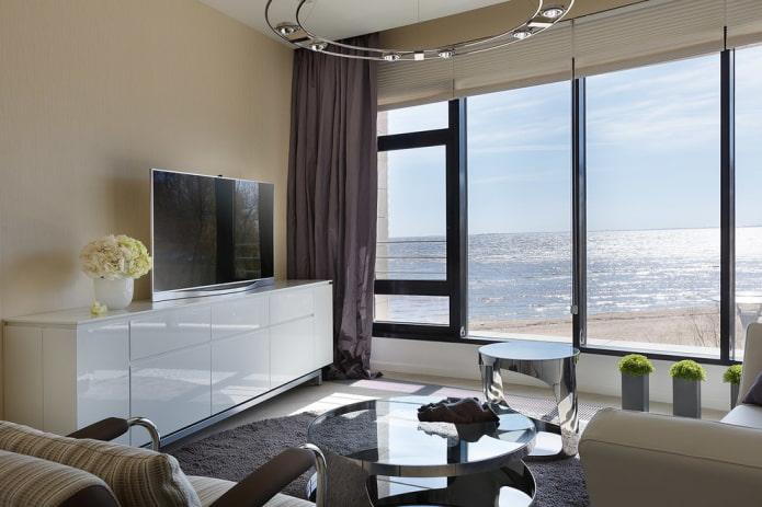 meuble TV brillant à l'intérieur