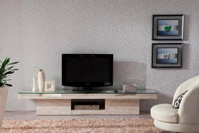 meuble TV en pierre à l'intérieur