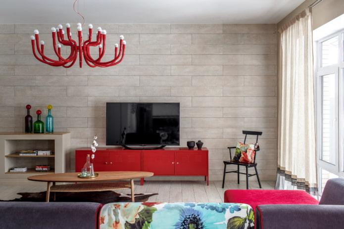 Meuble TV en rouge à l'intérieur