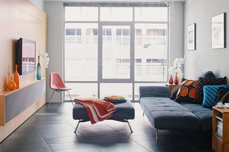 Salon design 18 m²  dans un style moderne