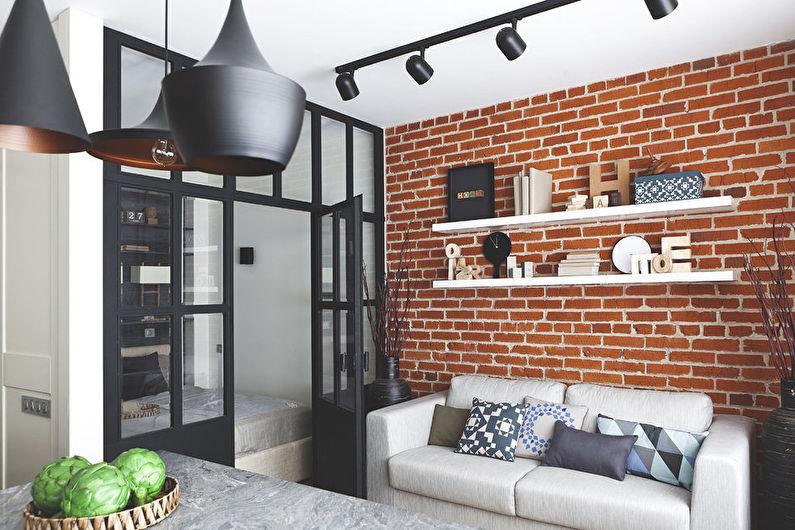 Salon design 18 m²  style loft