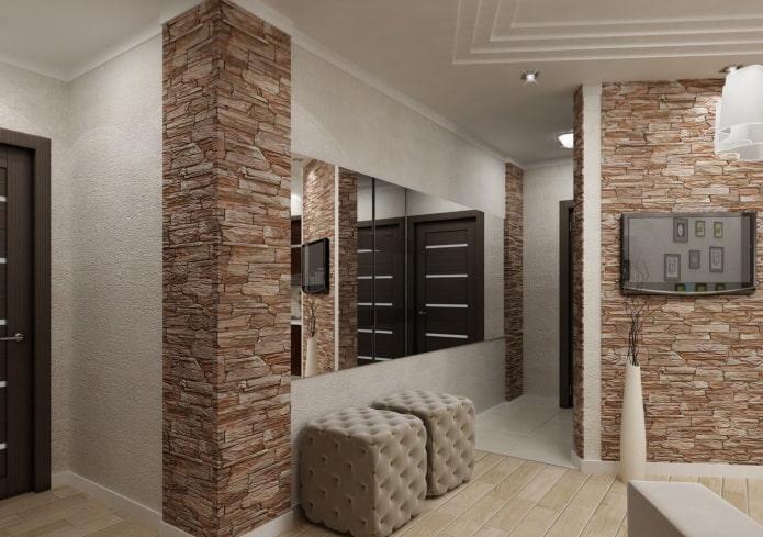 finition en pierre décorative du coin à l'intérieur