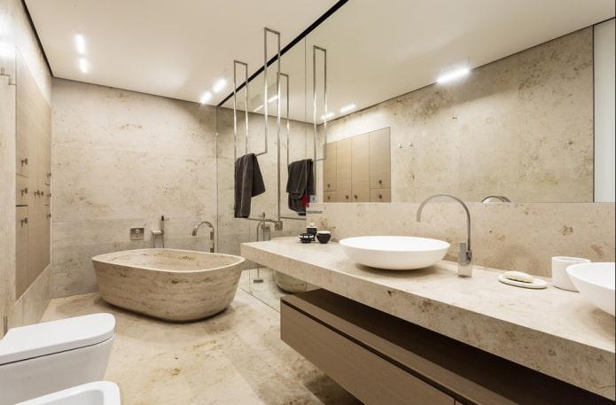 baignoire décorative en pierre à l'intérieur