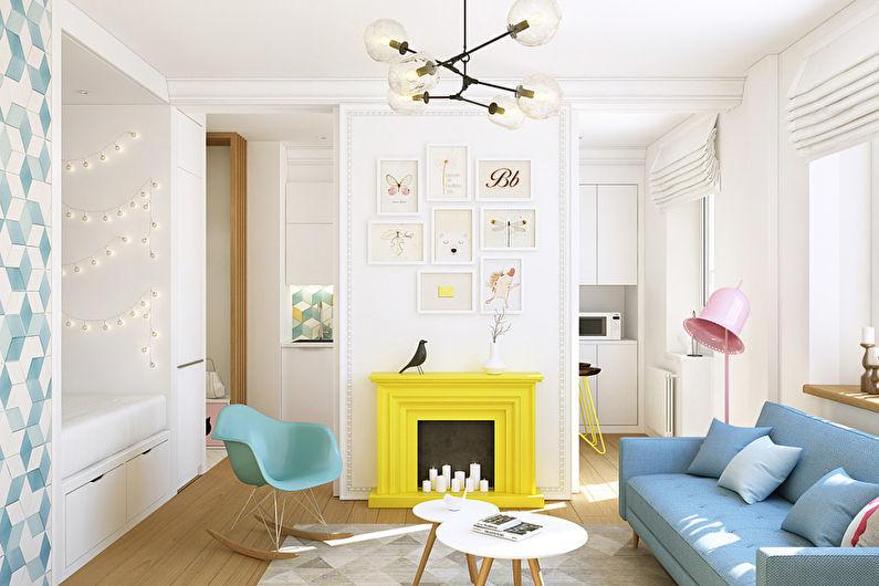 Caractéristiques de la conception d'un appartement d'une pièce de 40 m².