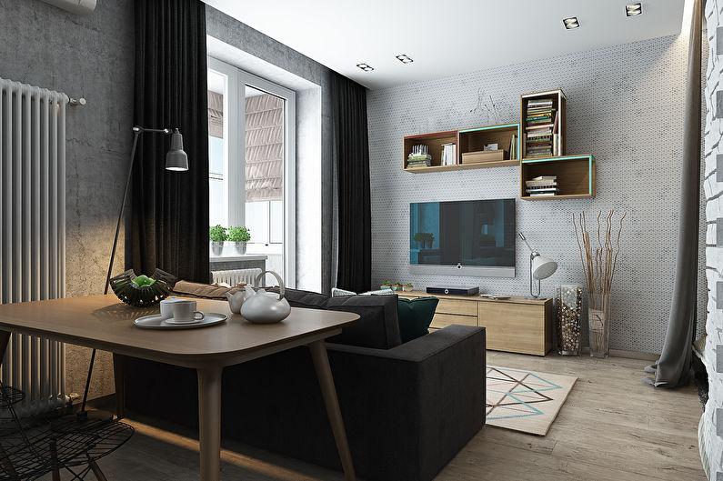 Conception élégante d'un appartement d'une pièce de 40 m².