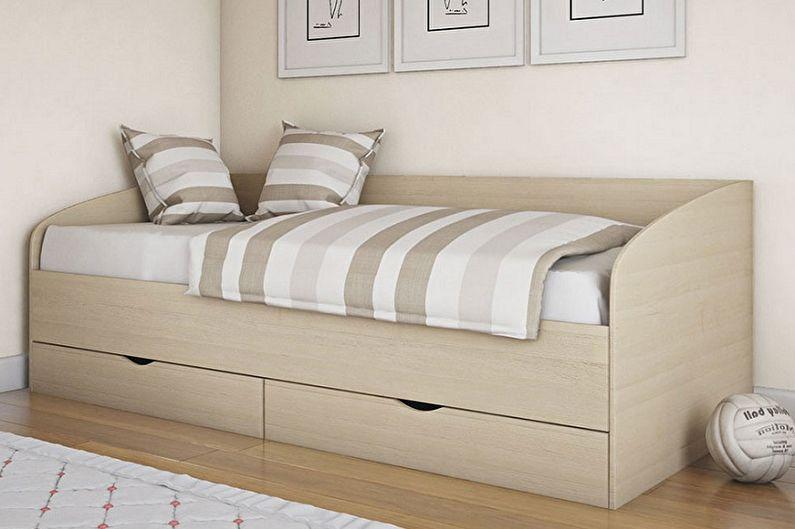 Types de lits simples - Lit simple avec tiroirs