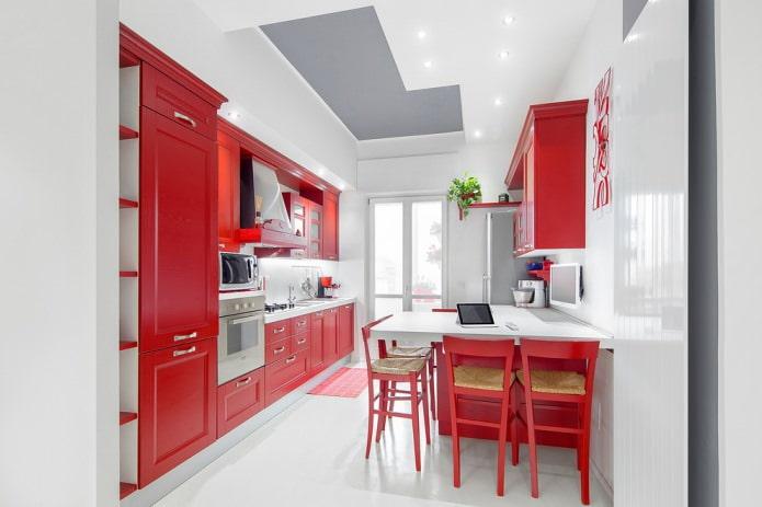 ensemble rouge avec décoration blanche pour murs, sols et plafonds