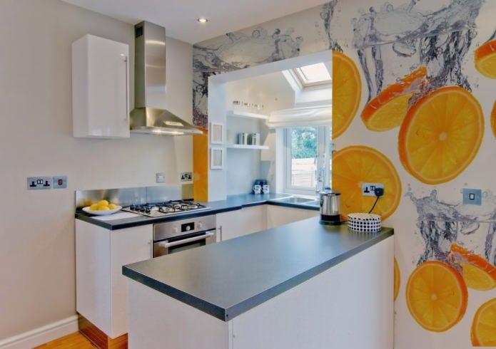papier peint photo pour une petite cuisine