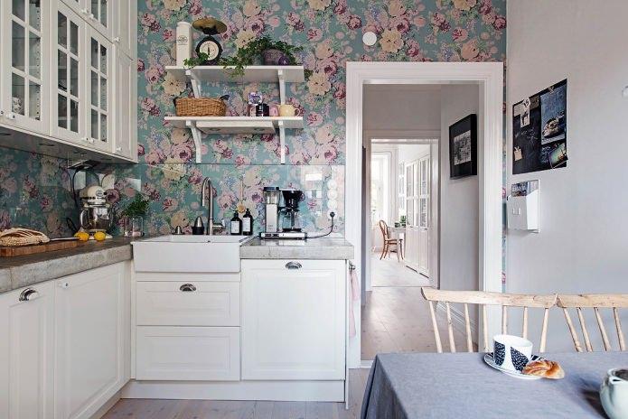 Conception de papier peint pour une petite cuisine