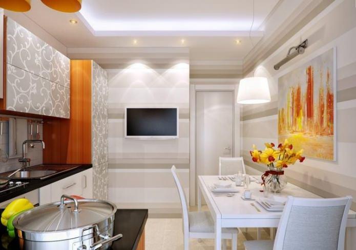 papier peint beige pour une petite cuisine