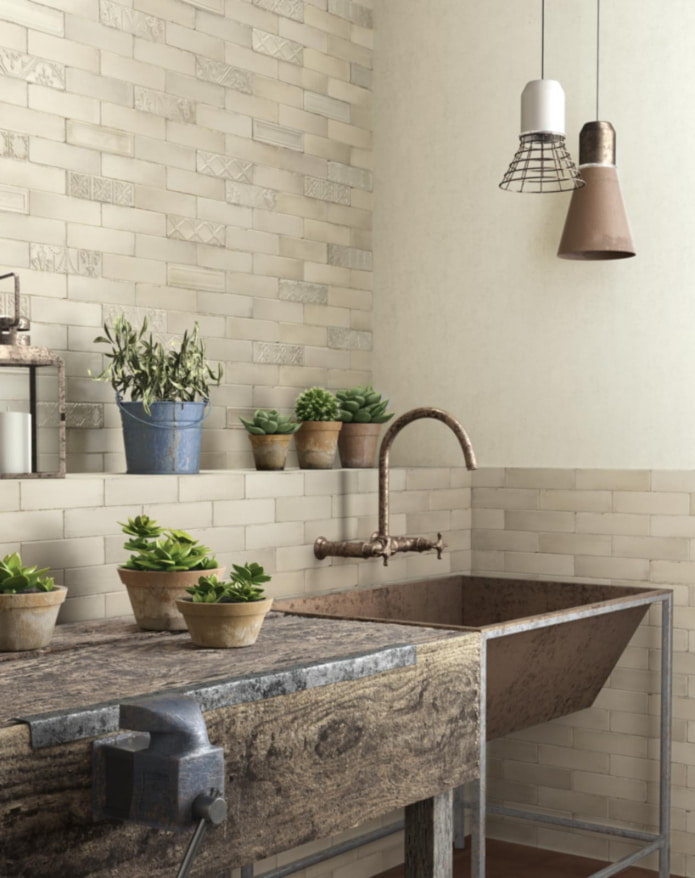 murs de briques dans la cuisine