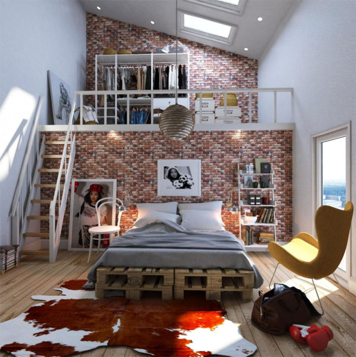 chambre de style loft