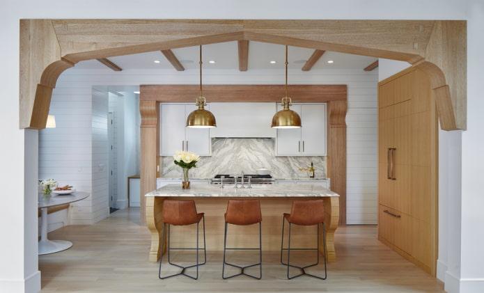 structure voûtée en bois dans la cuisine