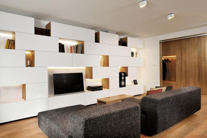 Meuble TV à l'intérieur du hall