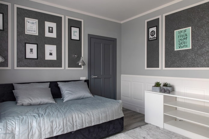 intérieur de chambre gris et blanc