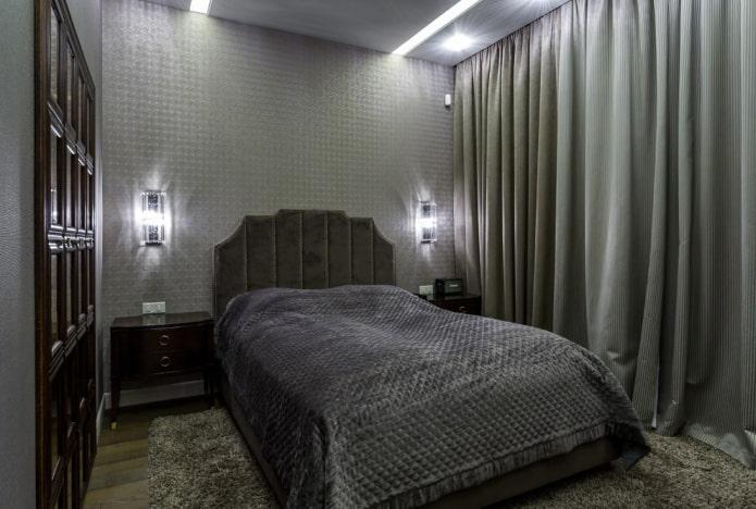 design d'intérieur de chambre grise