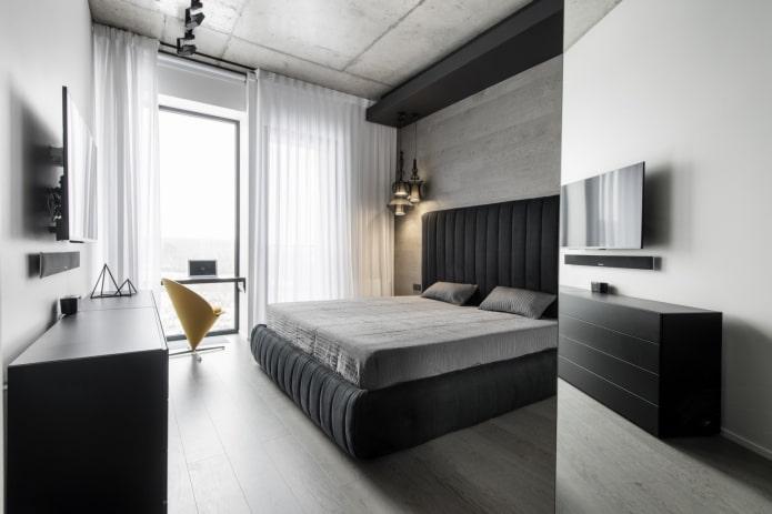 conception de chambre grise et noire