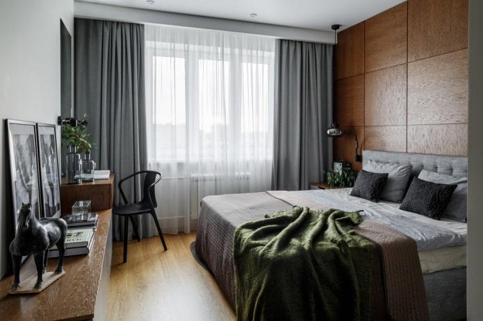 conception de chambre gris-brun