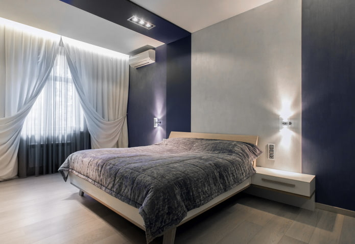 conception de chambre bleu-gris
