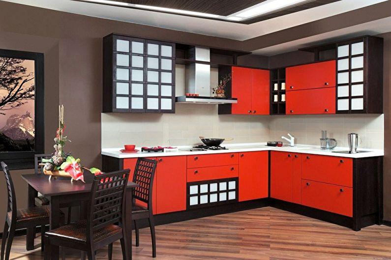 Cuisine rouge de style japonais - Design d'intérieur
