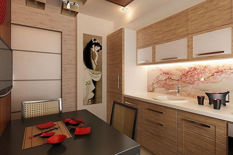 Cuisine beige de style japonais - Design d'intérieur