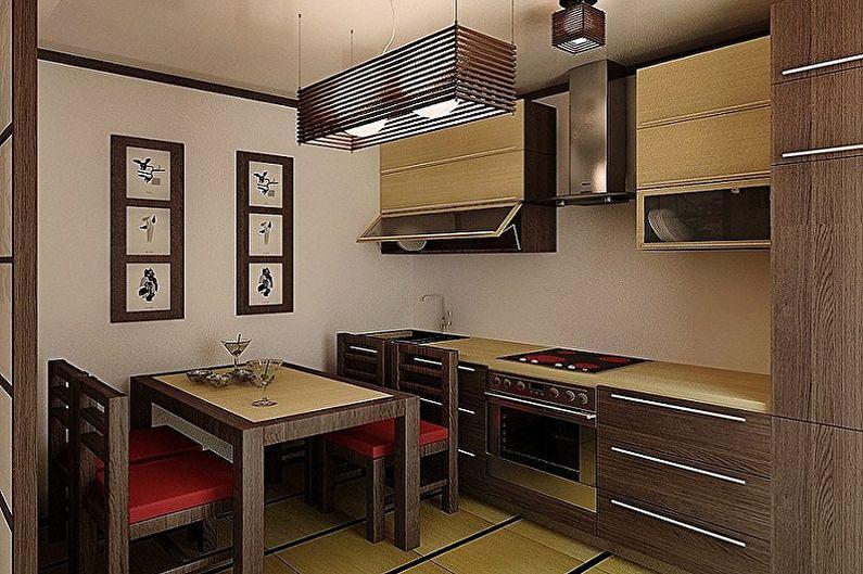 Cuisine brune de style japonais - Design d'intérieur